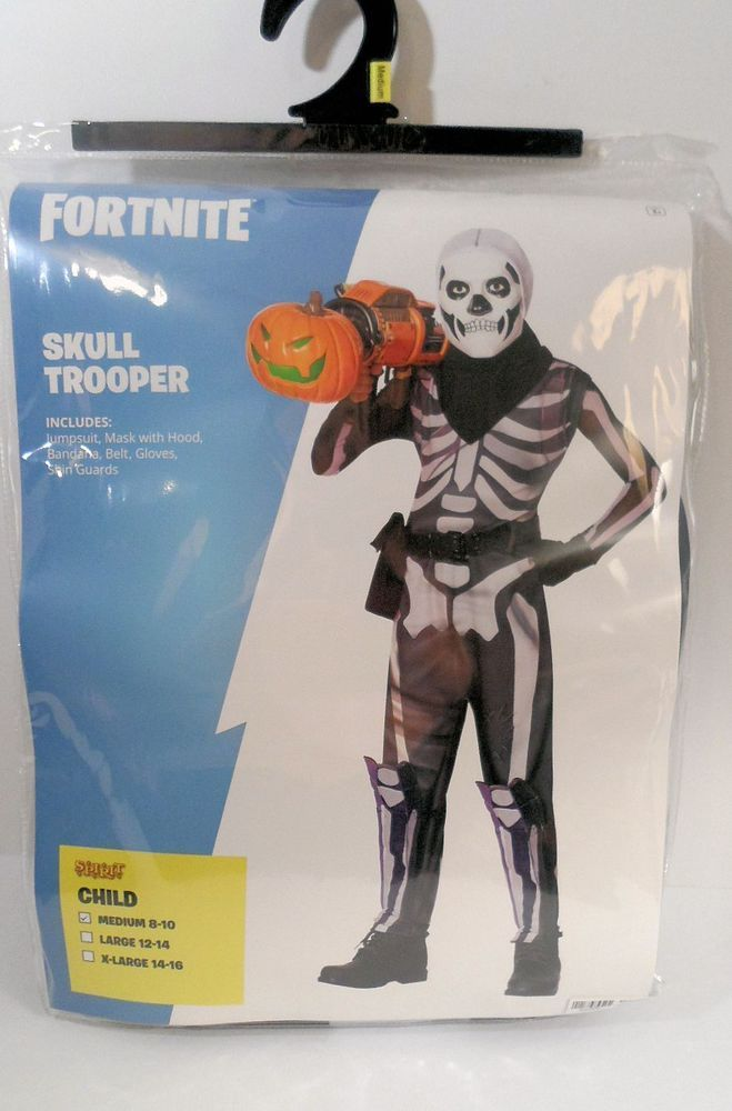 Fortnite Skull Trooper Costume Kids Child Sz Medium 8 10 In Hand