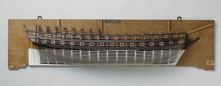 Anonymous | Halfmodel van het linieschip De Zeeuw van 84 stukken, Anonymous, c. 1819 - c. 1825 | Halfmodel van een linieschip van 84 stukken. Mallenmodel (stuurboord) van een driemaster. Vier en veertig geschutpoorten verdeeld over drie dekken. Rond achterschip met een hek van twee verdiepingen, uitvoerig versierd, met halfronde galerij middenachter. De westergang aan de bovenste verdieping, die om de galerij heenloopt, wordt gesteund door versierde knieën. Boven het hek het Rijkswapen…