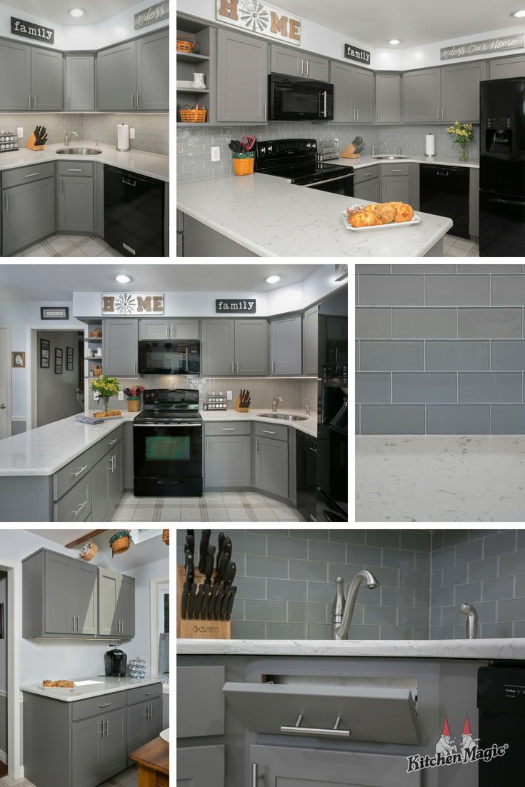 Cabinet Refacing Transforms Kitchen Into Shaker Gray Masterpiece Grey Kitchens Stainless Appliances Kitchen Slate Appliances