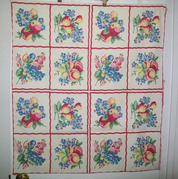 Vintage Tablecloths for Sale | SALE Vintage linen tablecloth red fruit 1950s or by BlueSkyLane