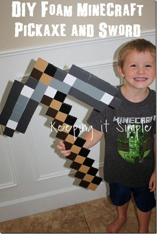 DIY Foam Minecraft Pickaxe and Sword #Minecraft