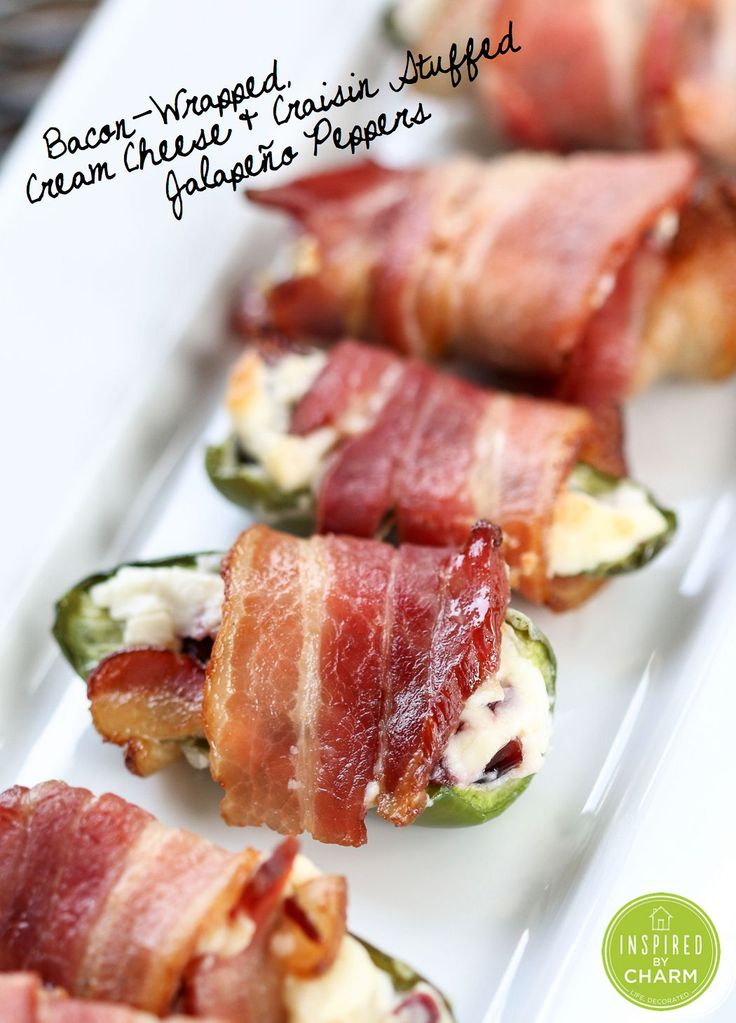 Bacon-Wrapped, Cream Cheese and Craisin-Stuffed Jalapeño Peppers #gameday #appetizer