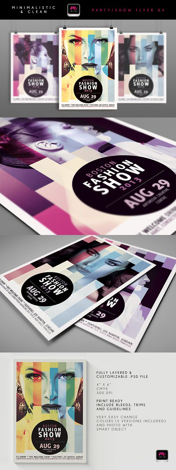 12 minimalistic & clean party & event flyer templates - only $14