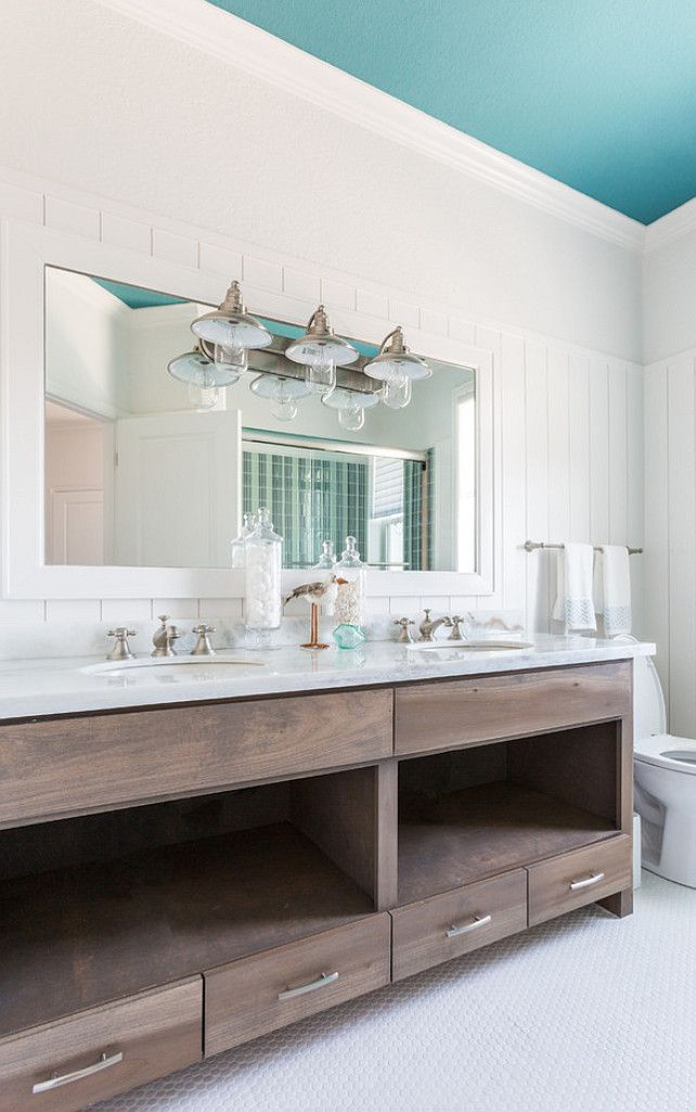 Beach House with Turquoise Interiors - Bathroom: Painted turquoise ceiling.