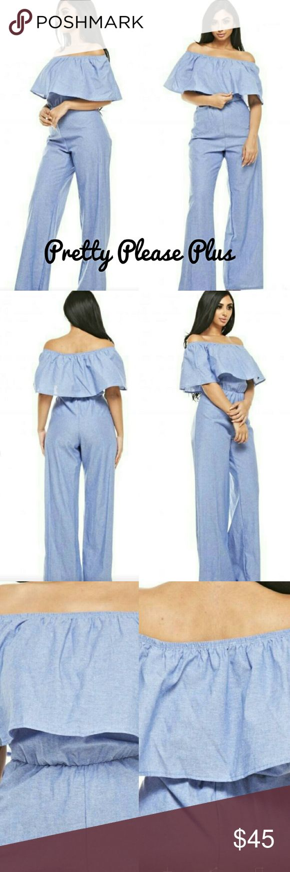 ❤NEW Plus size Jumper Stunning plus size chambray off shoulder jumper. Fits true to size and is absolutely sexy Pants