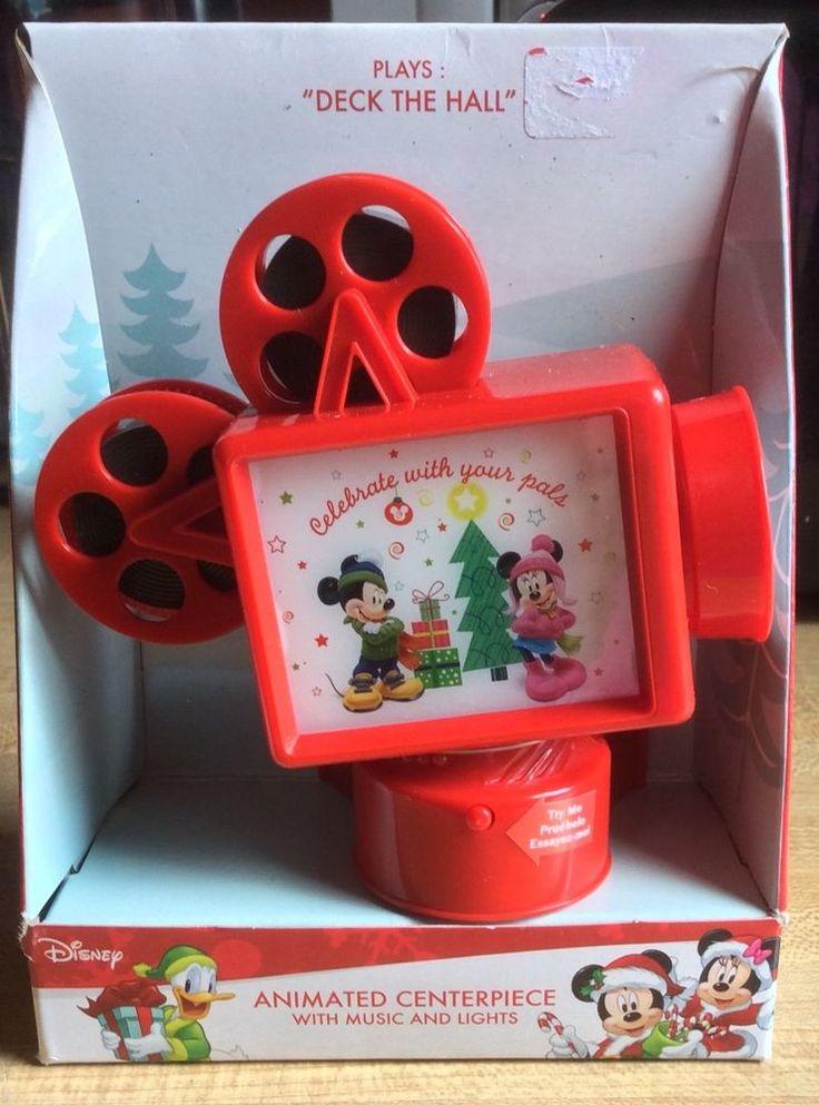 Disney MICKEY MINNIE Mouse Music Movie Projector Christmas Animated Centerpiece #Disney #Christmas