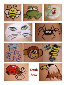 Cheek art from Paintings By Beth: New Face Painting Designs. Artist does not give instructions.
