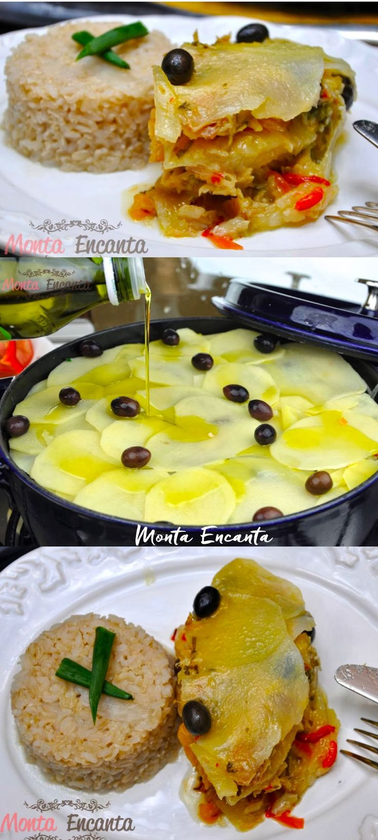 Bacalhau em lascas e em camadas com batatas azeite e limão  siciliano