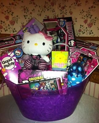 Monster High Easter Gift Basket with Ty Hello Kitty Punk 40990 NWT