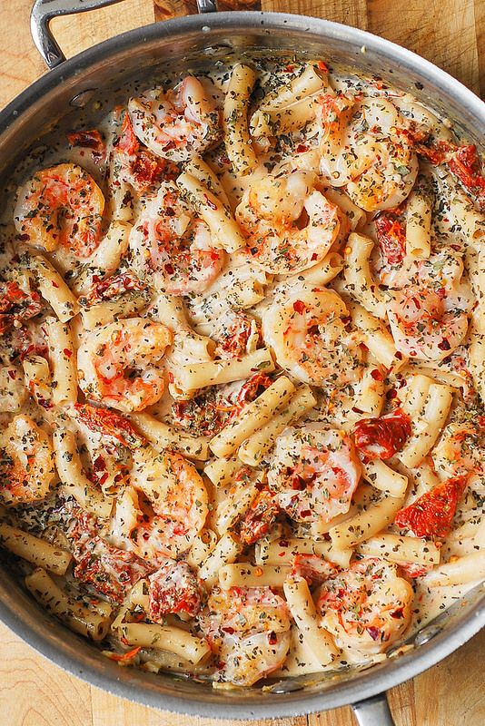 Creamy Mozzarella Shrimp Pasta with sun-dried tomatoes, basil, red pepper flakes in a delicious creamy Mozzarella pasta sauce, made from scratch. A great recipe for shrimp lovers! I am always looking