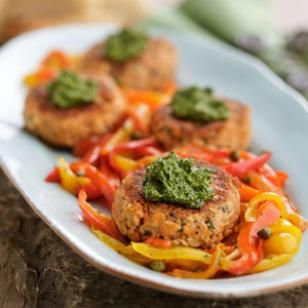 Pink Salmon Cakes with Cilantro Pesto  Per serving: 302 calories; 22 g fat ( 3 g sat , 12 g mono ); 33 mg cholesterol; 8 g carbohydrates; 0 g added sugars; 18 g protein; 1 g fiber; 469 mg sodium; 146 mg potassium.    Nutrition Bonus: Vitamin C (24% daily value), omega-3