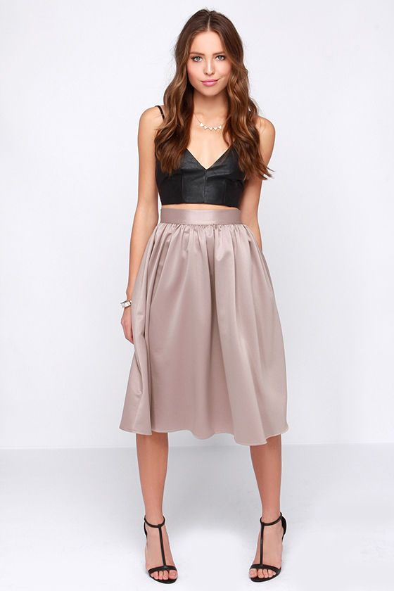 Fabulous Life Taupe Midi Skirt » Sassy!