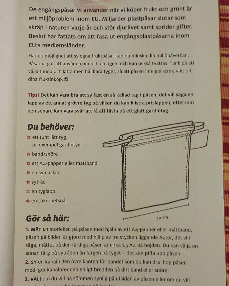Sy en fruktpåse! I senaste numret av Martha tidningen finns denna beskrivning! Det går oxå bra att använda en gammal barntröja. Jag borde sy fler, har bara en och den är alltid i skötväskan men jag tar inte alltid den. #plast #miljötips #miljövänligt #fruktpåse #frukt #diy #eko