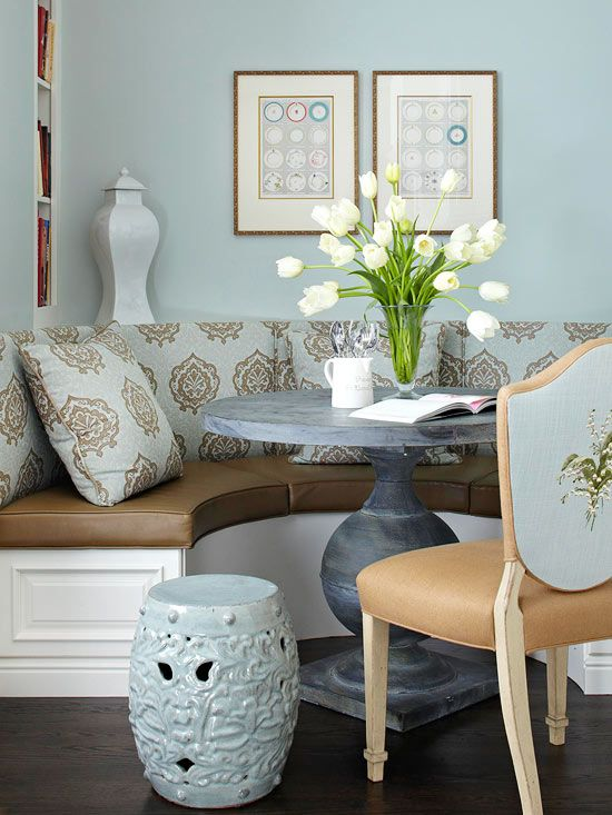 Look another Nook! A semicircular banquette creates a cozy place for family dinners or morning coffee,