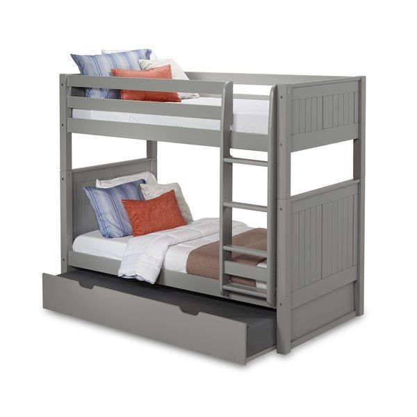 Oakwood Twin Over Twin Bunk Bed With Trundle Bunk Bed With