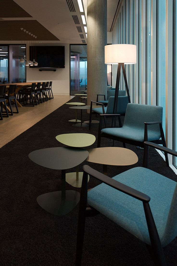 Contemporary office interiors by Magnus + Associates, staff cafe, canteen, break out area.