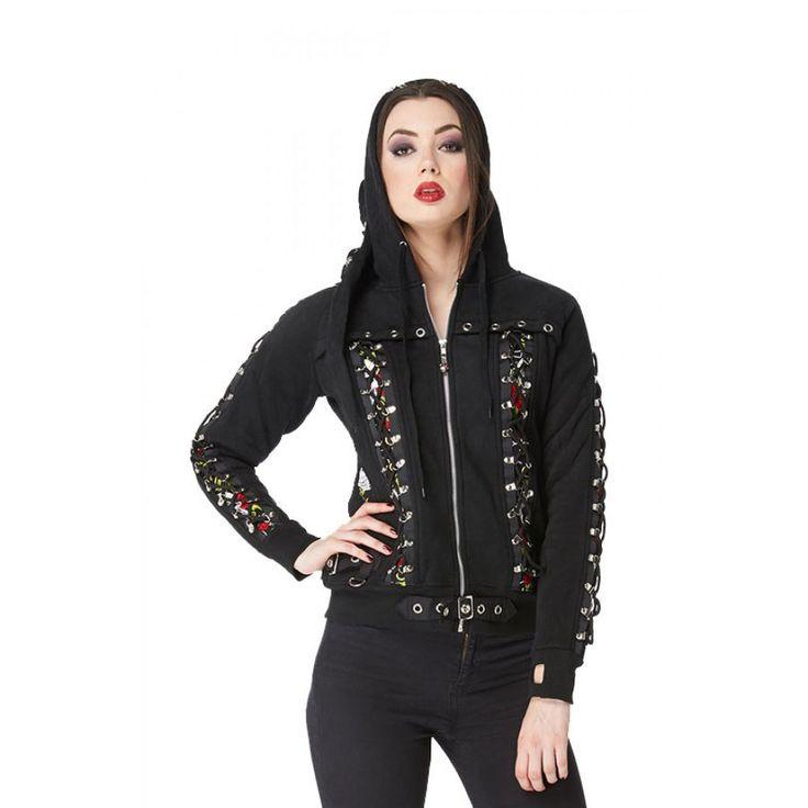 Jacke im Gothic Style mit Schnürung und Zipfelkapuze  | VOODOOMANIACS
