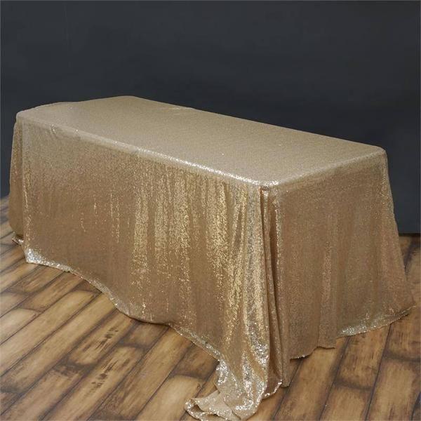 90x132 Champagne Premium Sequin Rectangle Tablecloth Sequin