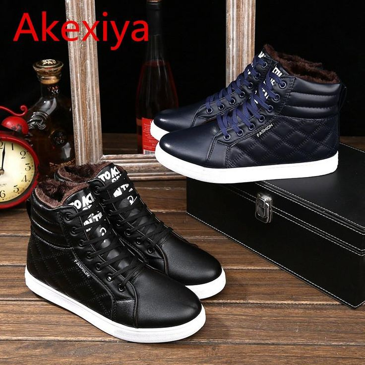 Akexiya Men's Plimsolls High Top Thicken Warm Canvas Shoes Sapatos Tenis Masculino Winter Shoes Casual Men Leather Fur Boots