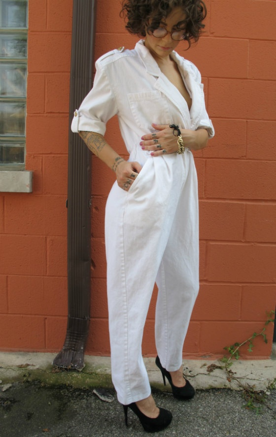 Vintage 1980 white nautical jumpsuit with gold by TreatYoSelf, $40.00