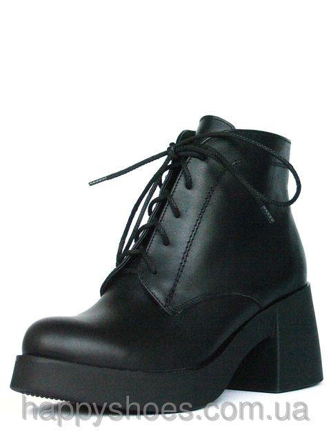 Черные кожаные ботинки на каблуке, фото 5