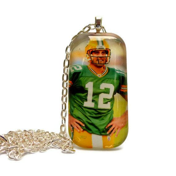 Aaron Rodgers 1x2 Bubble Glass Tile Necklace  by TheFamilyJewelsWI, $15.00