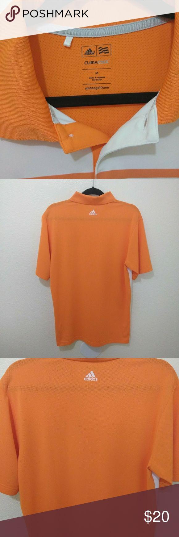 Addidas Athletic Golf Polo Shirt Addidas Climacool Three Stripe Athletic Golf Polo Orange,White Short Sleeve Shirt...in E.U.C Addidas Shirts Polos