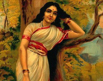 raja ravi varma paintings lady with lamp - Google Search