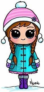 Aquí tenemos a Ana de frozen en pleno invierno.