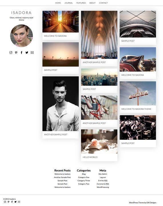WordPress Theme: Isadora Responsive Minimal Pinterest by GWPress isadora.gary-wilkerson.com www.etsy.com/shop/gwpress