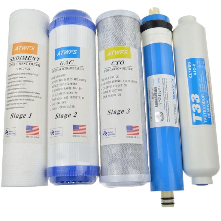 Nuevo Cartucho de Filtro Purificador De Agua 5 Etapas 75 gpd RO Membrana de Ósmosis Inversa Sistema de Filtros De Agua Para El Hogar