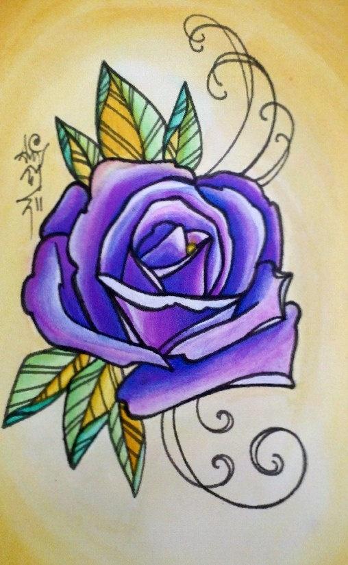 Violet Rose Tattoo Style Art Print by printeranji