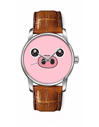 Mädchenuhr, Silber braun Damenuhr Leder Armbanduhr mit Rosa Schwein OOFIT Design - http://uhr.haus/oofit/maedchenuhr-damenuhr-leder-armbanduhr-mit-rosa-3