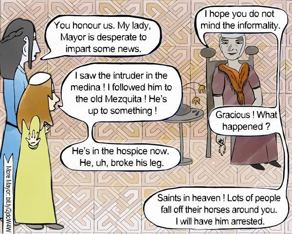 Horse problems (Mayor graphic novel, s1, p60) #alandalus, #graphicnovel, #historicaldrama, #Spain, #Toledo, #astrology, #fantasy, #occult, #MayorGN, #Mayors1p60 #chicklit #patterns