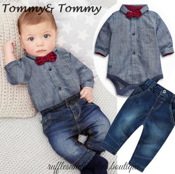 Baby Boys Chambrea Denim shirt with Buffalo Plaid bow tie and Matching Denim Jeans - Boys 2 pc Outfit - Boys Denim Onesie - Bows Bow Tie set - Ruffles & Bowties Bowtique - Calgary