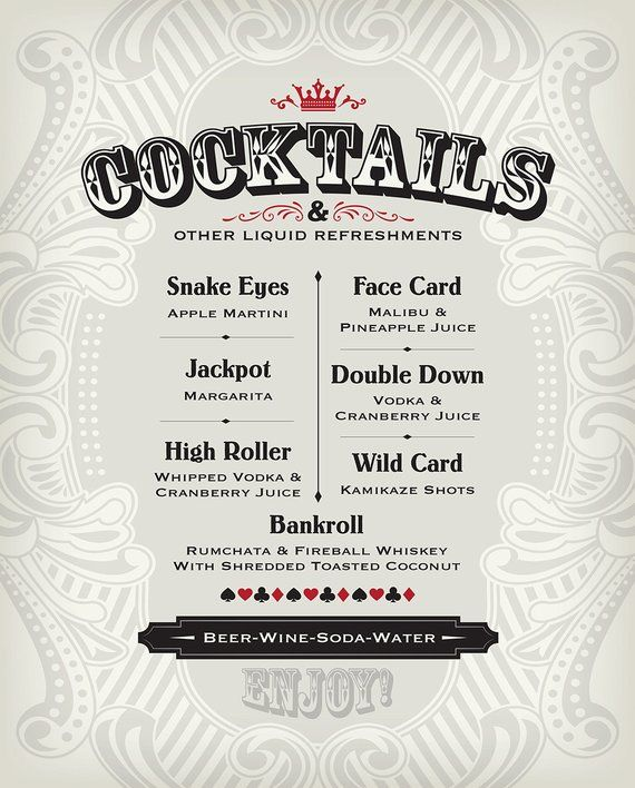 Menu for a casino party evolution type games online