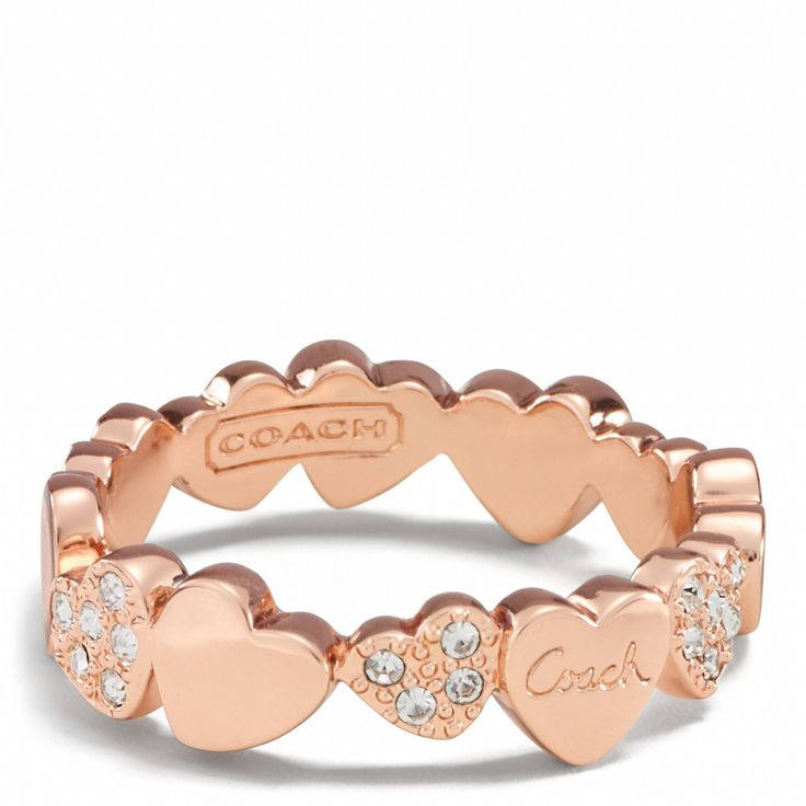 Hearts Band Ring - OMG in love - rose gold and hearts!!! $78 - wish list