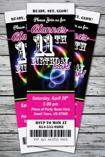 GLOW in the DARK Neon Birthday Party Invitation TICKET ...