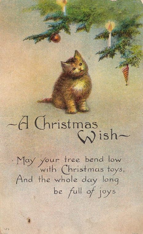 """A Christmas Wish"" - 1918 kitten postcard"