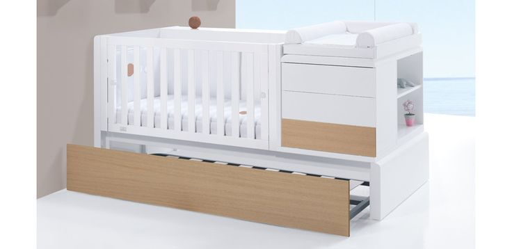 Cuna convertible moderna de diseño, Alondra Premium Nature con cama nido inferior.