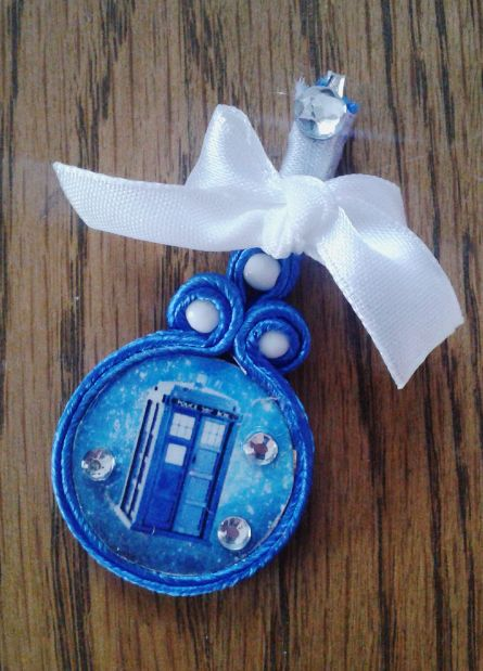 Small Tardis pendant  (soutache & decoupage)