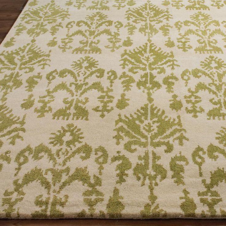 Soho Style Ikat Rug in Green leaf on Ivory