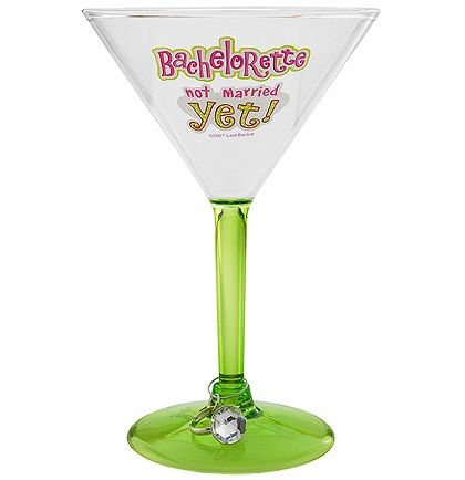 The perfect Martini Glass for any Bachelorette!  This glass comes with it's own engagement ring glass charm! Just $10.99 at The House of Bachelorette!