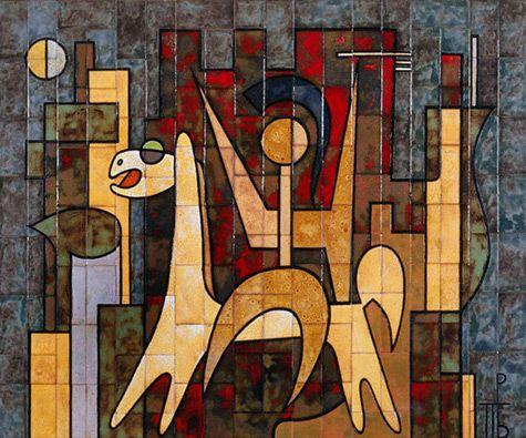 Valsamakis panos mural 475x395 art pottery ceramics for Ceramic wall mural