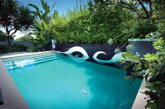 Feature wall in a pool