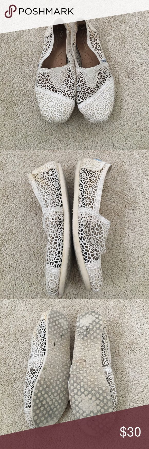 Crochet TOMS Cream colored worn a few times - crochet TOMS. TOMS Shoes Flats & Loafers