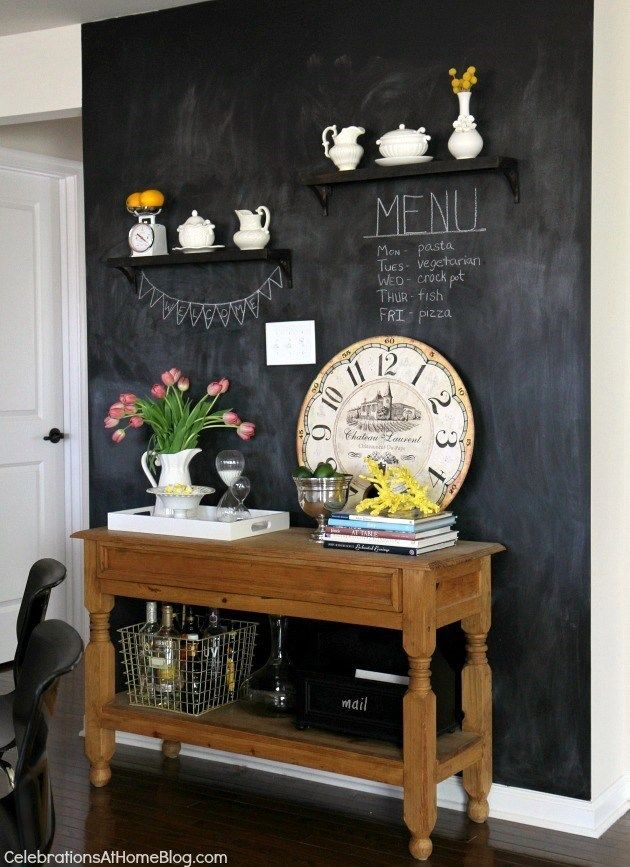 chalkboard wall - this is what I want to do between the bookcases - with magnetic chalkboard paint