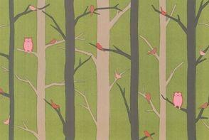 """Owls Trees"" Woodland Animal Linz Fat Quarter by Westfalenstoffe"