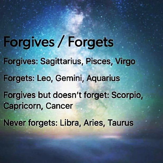 Not true for me, I'm an Aquarius and I still have a grudge on this kid from 2nd grade, I remember and don't forgive