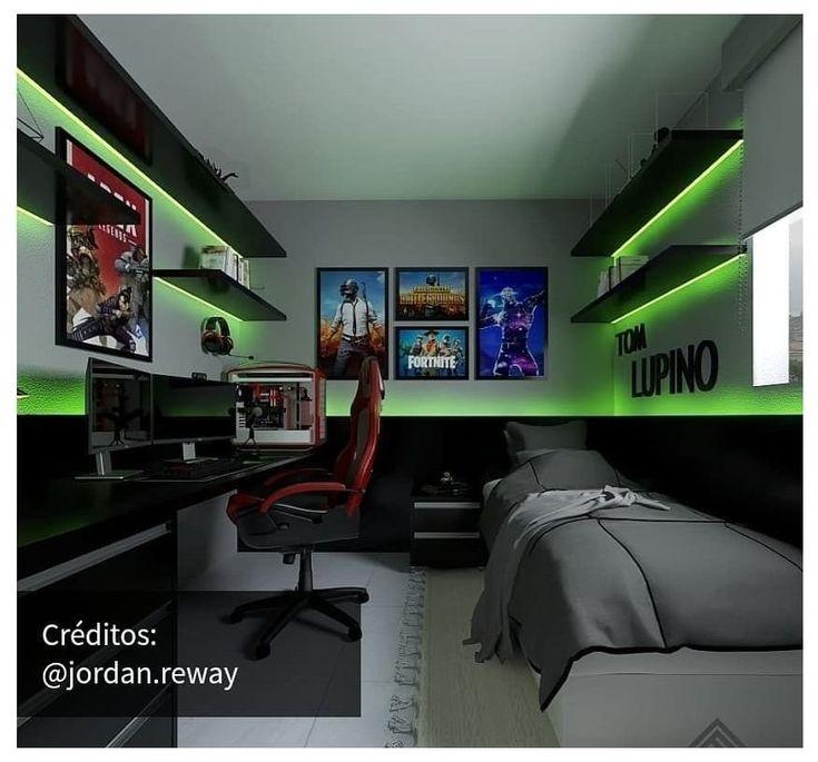 Gamer Bedroom, Bedroom Setup, Bedroom Ideas, Boys Bedroom Decor, Best Gaming Setup, Gaming Room Setup, Gamer Setup, Gaming Chair, Small Game Rooms